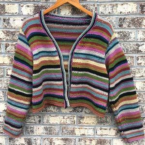 Vintage Hand Knit Chunky Stripe Cardigan Sweater